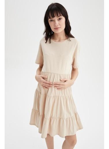 DeFacto Volan Detaylı Kısa Kollu Hamile Elbisesi Bej